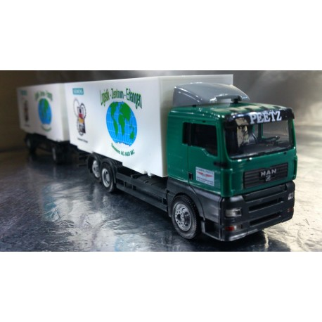 "* Herpa Trucks 276221  MAN TGA XXL interchangeable box trailer ""Peetz / Siemens"""