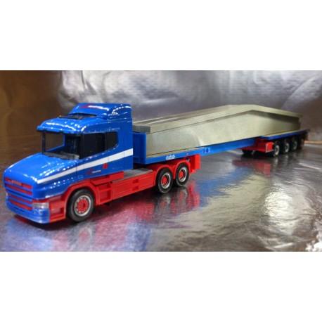 "* Herpa Trucks 156714  Scania conventional teletrailer semitrailer with concrete beam ""Riwatrans"""