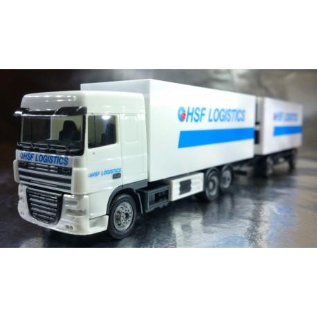 """* Herpa Trucks 154536  DAF XF 105 SC box trailer """"HSF Logistik"""" (Holland)"""