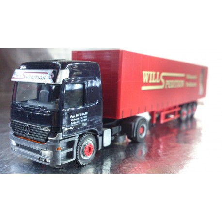 "* Herpa Trucks 149327  Mercedes-Benz Actros L curtain canvas semitrailer ""Spedition Will"""