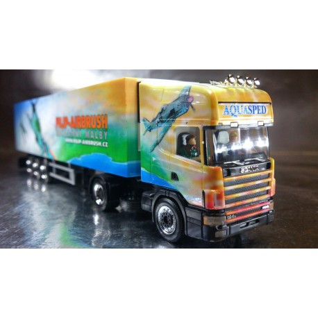 "* Herpa Trucks 120982  Scania TL refrigerated box semitrailer ""Aquasped/Filip Design"", PC"