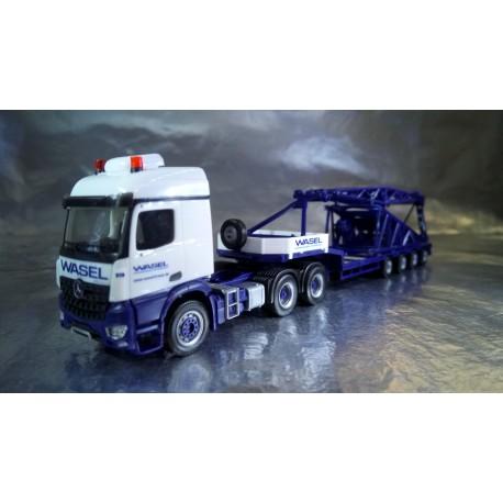 "* Herpa Trucks 307253  Mercedes-Benz Arocs low boy semitrailer with boom foot for Liebherr LR 1600/2 ""Wasel"""