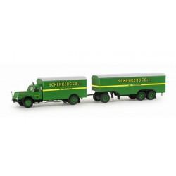 """* Herpa Trucks 155663  Henschel HS 140 box trailer """"Schenker"""""""