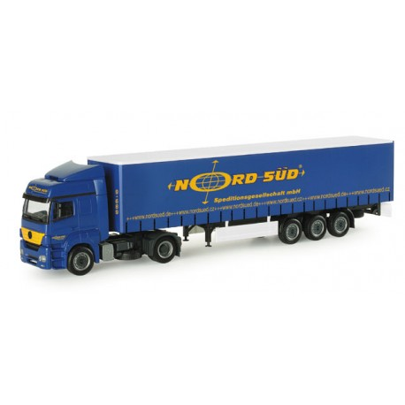 """* Herpa Trucks 154109  Mercedes-Benz Axor curttain canvascover semitrailer """"Nord-Sued"""""""