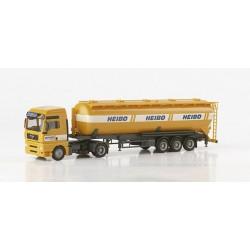 "* Herpa Trucks 148054  MAN TGA XXL silo semitrailer 60m³ ""Heibo"""