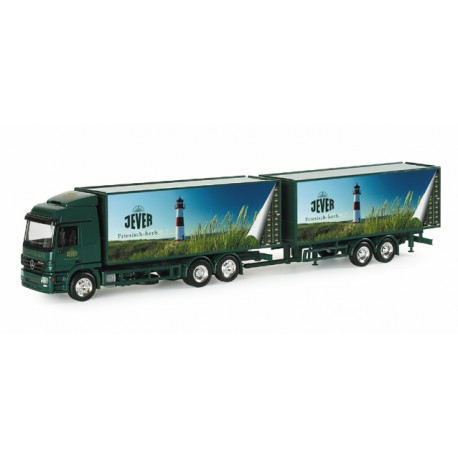 "* Herpa Trucks 153171  Mercedes-Benz Actros LH beverage box trailer ""Jever"""