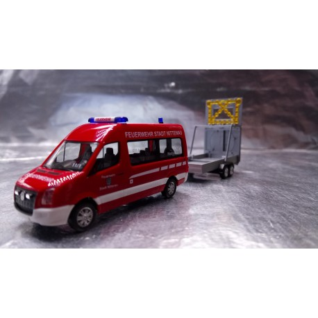 "* Herpa Trucks 093255  VW Crafter Bus HD with safety traffic trailer ""Feuerwehr Nittenau"" (Fire Station Nittenau)"