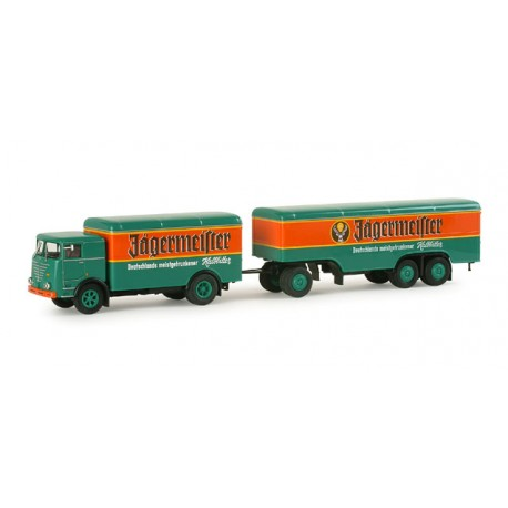 "* Herpa Trucks 155243  Buessing LU 11/16 box trailer ""Jaegermeister"""