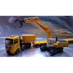 "* Herpa Trucks 307277  MAN TGX XXL 640 lowboy semitrailer with Liebherr 954 with sorting Grabs ""Max Bögl"""