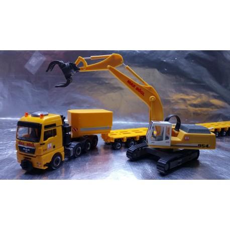 "* Herpa Trucks 307277  MAN TGX XXL 640 lowboy semitrailer with Liebherr 954 with sorting Grabs ""Max Bögl"""