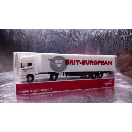* Herpa Trucks 294768 Scania R TL Eurokoffer Sattelzug Brit European