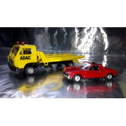 * Herpa Basic 094191VWP MAN G 90 Wrecker ADAC with VW Porsche 914 Car load