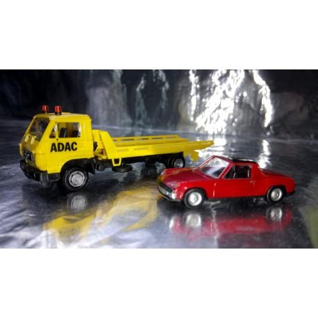 * Herpa Basic 094191VWP MAN G 90 Wrecker ADAC with VW Porsche 914 Car load
