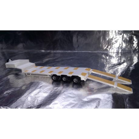 * Herpa 076371-006 Goldhofer Low Boy Trailer 3-Axle With Assembled Chutes White
