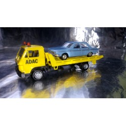 * Herpa Basic 094191A1BL MAN G 90 Wrecker ADAC with Audi 100 LS Car load