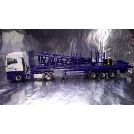 "* Herpa Trucks 307222  MAN TGX XLX 6c flatbed semitrailer with end piece for Liebherr LR 1600/2 ""Wasel"""