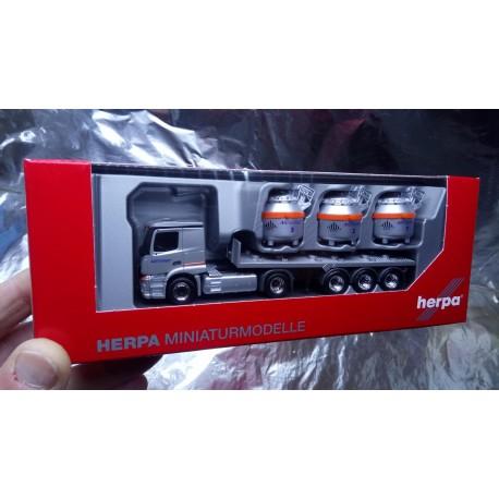 "* Herpa Trucks 307246  Mercedes-Benz Actros Classicspace 2,3 aluminum pot semitrailer ""Nicromet"" (vehicle of Poland)"