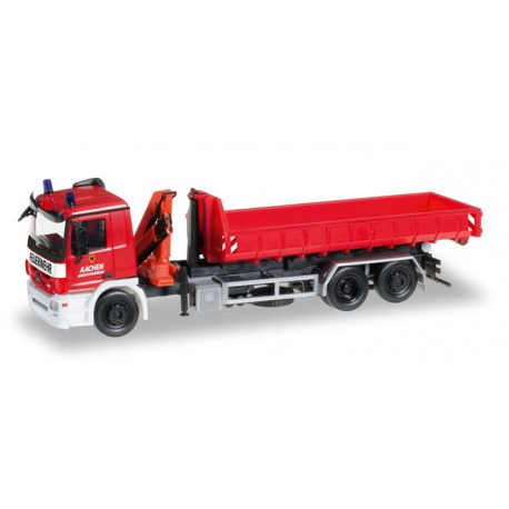 "* Herpa Trucks 306188  Mercedes-Benz Actros M roll-off container with loading crane ""Feuerwehr Aachen"""