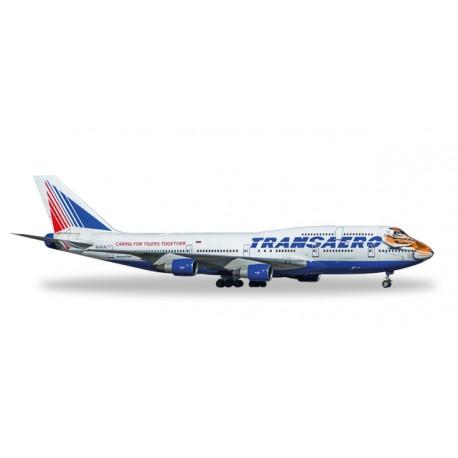"""* Herpa Wings 529464  Transaero Boeing 747-400 """"Amur Tiger"""""""