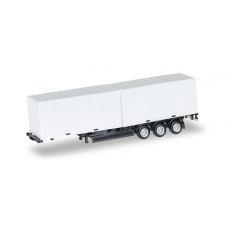 * Herpa Trucks 076494-002  40 ft. Containerchassis Krone with 2 x 20 ft. Container, Chassis black
