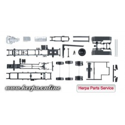 * Herpa Spare Parts 084277  chassis for tractor Mercedes-Benz Actros with roll-off kinematics Content: 2 pieces