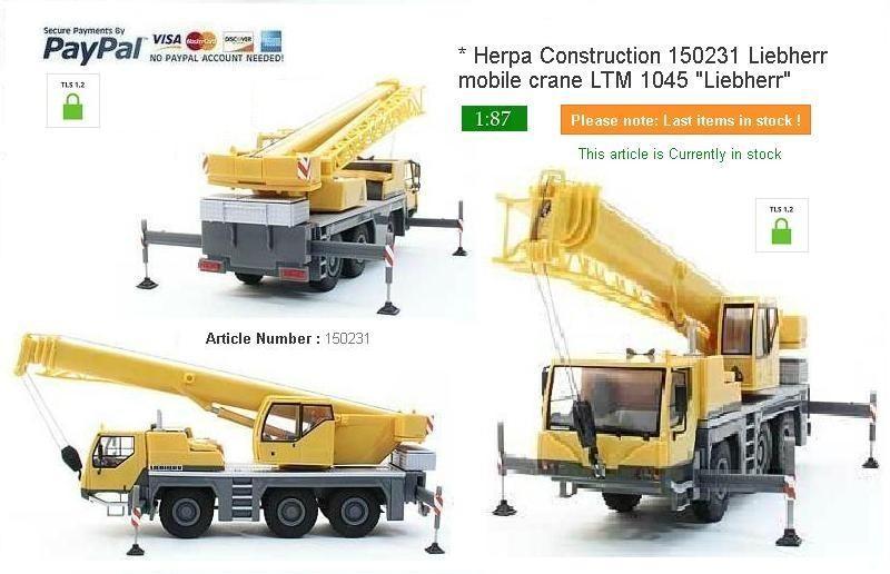 """Herpa Construction 150231 Liebherr mobile crane LTM 1045 """"Liebherr"""""""