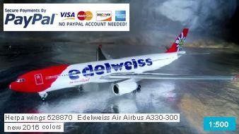 Herpa wings 528870 Edelweiss Air Airbus A330-300 new 2016 colors