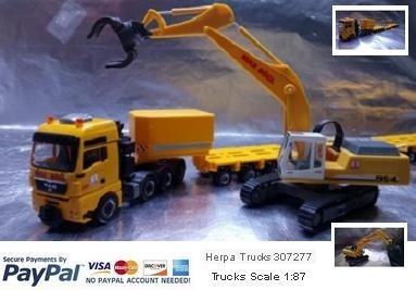 "Herpa Trucks 307277 MAN TGX XXL 640 lowboy semitrailer with Liebherr 954 with sorting Grabs ""Max Bög"