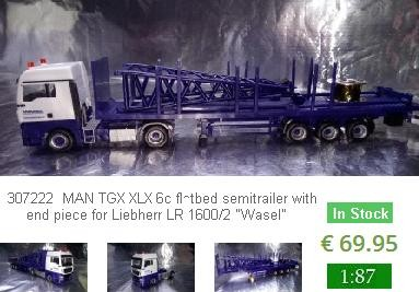 "Herpa Trucks 307222  MAN TGX XLX 6c flatbed semitrailer with end piece for Liebherr LR 1600/2 ""Wasel"
