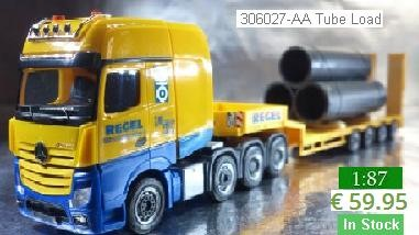 "Herpa Trucks 306027 - AA Mercedes-Benz Actros SLT low boy semitrailer ""Regel"" with Tube Load - Scale"